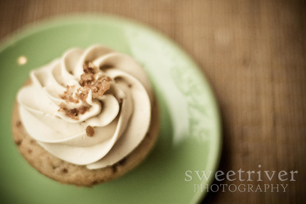 maple bacon cupcake on green plate