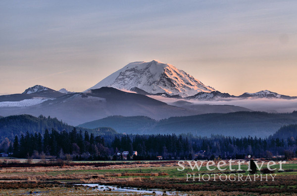 Soft Mt. Rainier sunset in enumclaw.